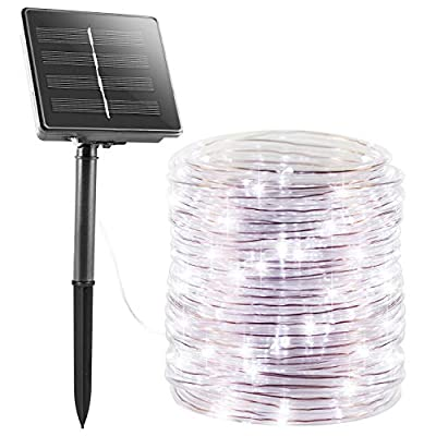 Solar Rope String Lights Outdoor 72Ft 200 Led Waterproof Solar Powered Fairy Lights with 8 Lighting Modes, Copper Wire PVC Tube Lights for Garden Wedding Christmas Party DIY Decor(Pure White, 1 Pack)