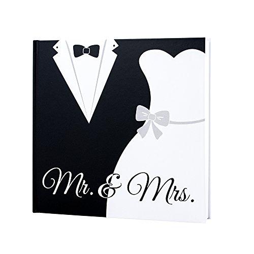 Gästebuch Black & White Hochzeit, Hochzeitsgästebuch schwarz weiß, Brautpaar Mr & Mrs, 144 weiße...