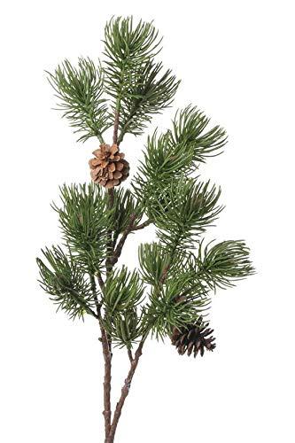 artplants.de Set 3 x Künstlicher Tannenzweig Tapani mit Zapfen, grün, 70cm - Dekozweig - Weihnachts - Zweig