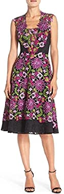 Badgley Mischka Women's Sleeveless Floral Lace Cocktail Dress