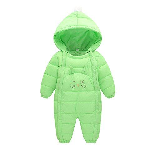 AHATECH Unisexe Bébé Combinaison Hiver Chaude à Capuche Barboteuse Bébé Garçon Fille Grenouillères -Vert