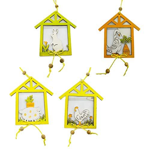 4 colgantes de madera para decoración de Pascua con diseño de conejito y oveja