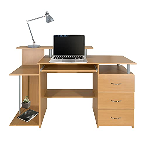 hjh OFFICE WORKSPACE H IV 830062 - Escritorio para ordenador (89 x 137 x 60 cm, madera de haya)