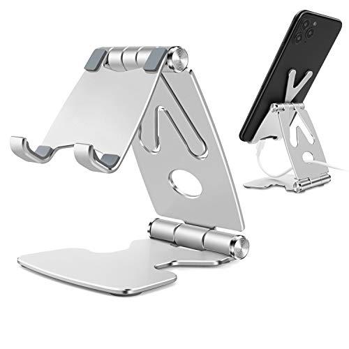 """TECOOL Faltbarer Handy Ständer, Verstellbare Aluminium Handyhalterung Halter für iPhone 12 Mini 11 Pro Xr Xs Se 8 7 6s, Samsung, Huawei, Android 4\""""-8\"""" Smartphones Tablets - (Silber)"""