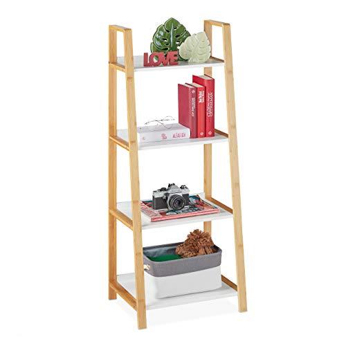 Relaxdays Badregal, Bambus & MDF, HBT: 112 x 43 x 36 cm, Leiterregal 4 Ablagen, Standregal Badezimmer, Küche, Natur/weiß