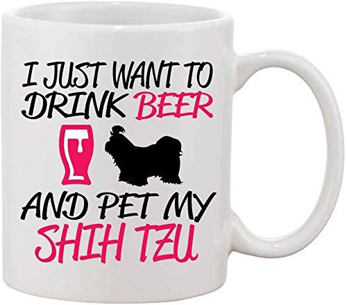 77 xiochgzish Solo Quiero Beber Cerveza Pet My Shih TZU Taza de cerámica de Cambio de Calor de 11 oz