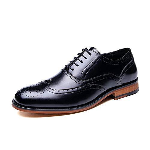 SAIPULIN Zapatos de Vestir Formales Atan for Arriba Cuero auténtico Perforado Dedo del pie Redondo de Usar-Resistencia Suela de Goma Bloque de Pata Brogue Oxford for los Hombres