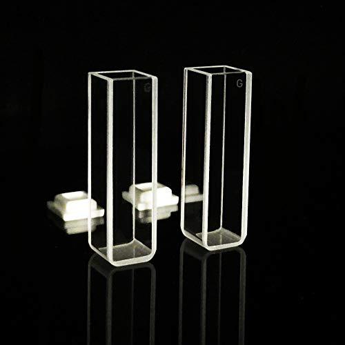 Lab4US Fluorescence Glass Cuvette (2pcs) Cell Spectrophotometer Cuvettes, 10mm pathlength 1cm, 3.5ml, 4 Clear Windows Fluorometer Cell Cuvette
