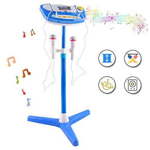 deAO Kinder Aufstehende Karaoke-Maschine Spielset mit Zwei Mikrofonen, Verstärker, eingebauter MP3-Buchse und LED-Leuchten (blau)
