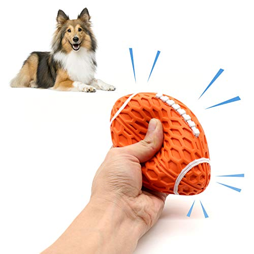Squeaky Dog Toys Ball, Durable Chew Toy, Interactive Dog Toys for Medium and Large Breed (Orange)