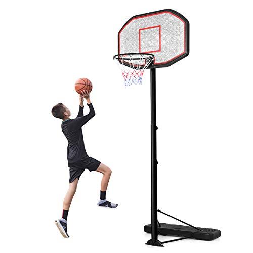 RELAX4LIFE Basketballständer höhenverstellbar 2,2-3,05 m, Basketballanlage mit Ständer, Basketballkorb für Kinder & Erwachsene, rollbar für Indoor & Outdoor, befüllbar mit Wasser & Sand, schwarz