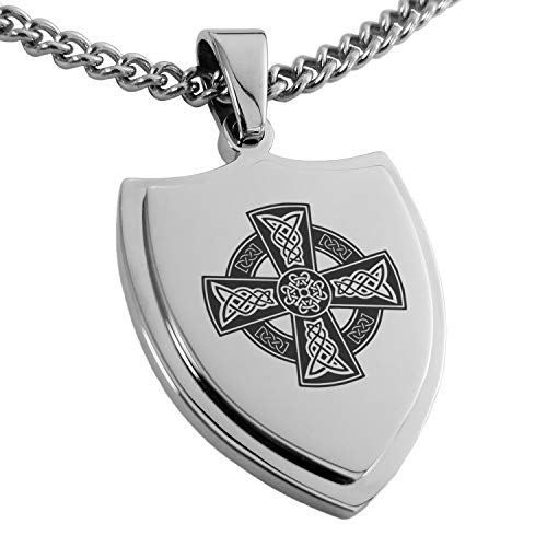 Tioneer Stainless Steel Celtic Cross Rune Knot Shield Pendant Necklace