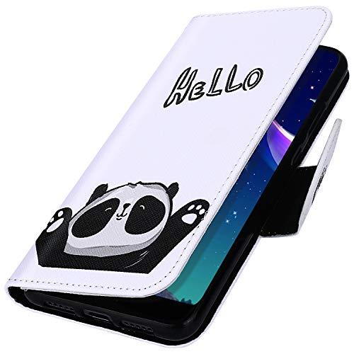 MoreChioce kompatibel mit iphone 11 Pro Hülle,iphone 11 Pro Ledertasche,Niedlich Hello Panda Muster Klappbar Stand Flip Case Bookstyle Protective Wallet Magnetische mit Karte Halterung
