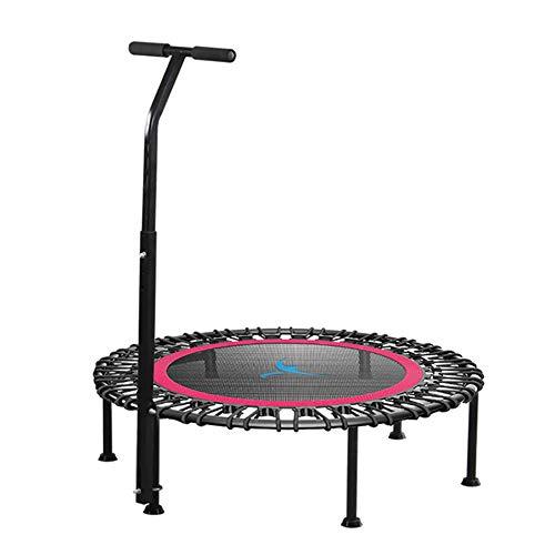ZL Fitness-Trampolin, Trampolin Faltbar, 3 Höhenverstellbarer Haltegriff Jumping Trampolin Inkl. Randabdeckung, Nutzergewicht Bis 250Kg, Für Indoor/Outdoor,Rot