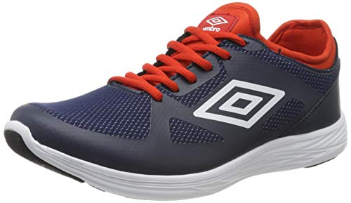 Umbro Velo Run, Zapatillas de Running Hombre, Azul (Dark Navy/White/Shocking Orange FSU), 42 2/3 EU