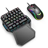 Havit One Handed Gaming Keyboard and Mouse Combo, 36 Keys Wired USB Mechanical Keypad Blue Switches LED Backlight with Wrist Rest, Programmable Mouse for PC Computer Laptop Game