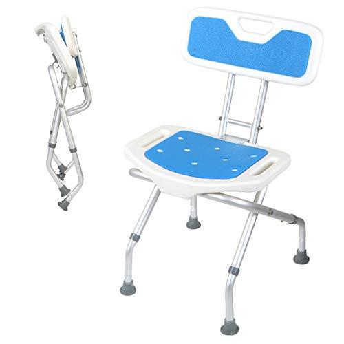 Douchestoel, inklapbare in hoogte verstelbare antislip badkruk met parel-wattenschijfje en rugleuning - voor ouderen Senior gehandicapte
