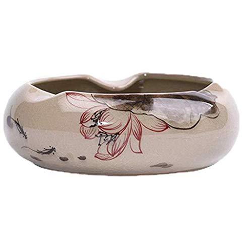 LITINGT Cenicero de cerámica Chino Retro Pintado a Mano Personalidad Creativa Tendencia Sala de Estar Mesa de Centro en casa con Tapa cenicero Adecuado para el hogar Mei