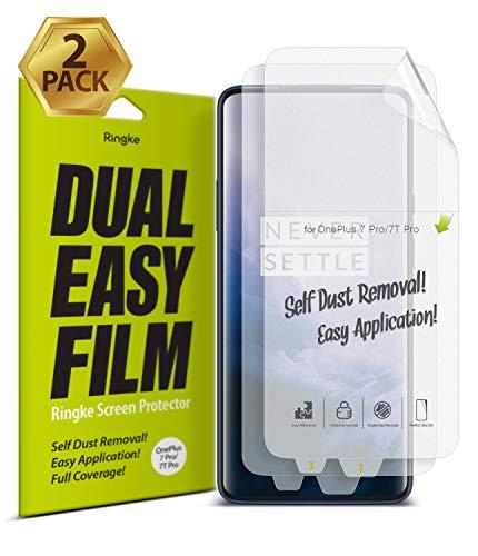 Ringke Dual Easy Film [2-Pack] Kompatibel mit [OnePlus 7 Pro] [OnePlus 7T Pro] Hochauflösender [Anti-Smudge-Beschichtung] Einfache Anwendung Schutzfolie