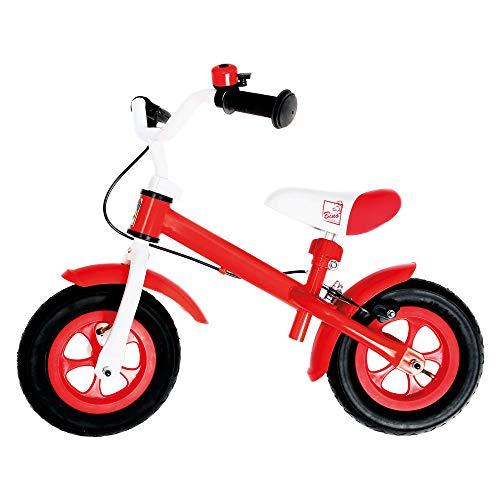 Bino Lauflernrad aus Metall, Laufrad ab 3 Jahre, Laufrad mit Bremse (Laufrad 10 Zoll mit Klingel und Bremse, Luftreifen, Sitz und Lenker höhenverstellbar, Größe ca. 59x73x53 cm), Rot