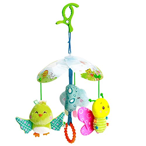 Funsland BabyToys for 0-12 Months Toddlers Clip On Car SeatToy and BabyStroller Toy with Hanging Rattle for Infants SensoryToys forBaby Girls and Boys