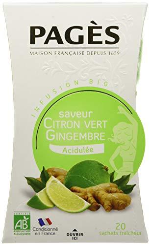 PAGÈS Infusion Citron vert - Gingembre BIO Boite de 20 sachets - Lot de 3