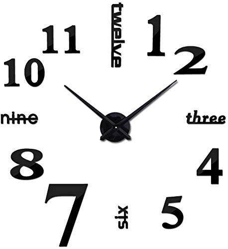 JUSM Modern DIY 3D Number Wall Clock Mirror Sticker Decor Large Watch Silent Home/Office/School Number Clock Decorations Gift