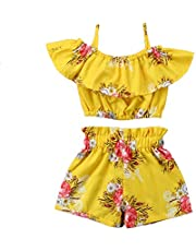 Conjunto de Verano para Niñas Bebés Manga con Volantes en la Parte Superior Fuera del Hombro y Pantalones Cortos Estampados FloralesConjunto de Chica Traje para Niñas de Verano