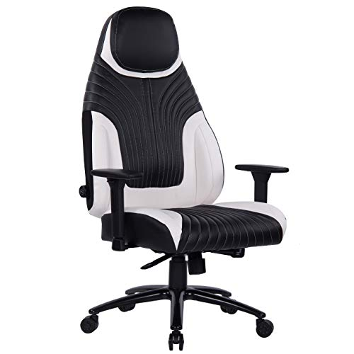 Memory Foam Gaming Chair with Metal Base, Integrated Adjustable Lumbar Support Aluminum Alloy Adjustable Armrest High Back Computer Desk Leather Swivel Office Chair