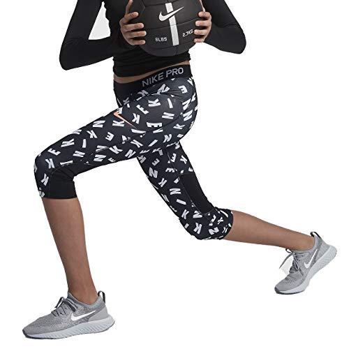 Nike Girl's Pro Toss Print Capris (Black/Crimson, Small)
