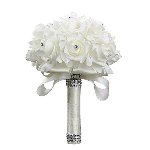 StillCool Wedding Bouquets Crystal Pearl Silk Roses Bridal Bridesmaid Wedding Hand Bouquet Artificial Fake Flowers (18cm24cm, Creamy-White)