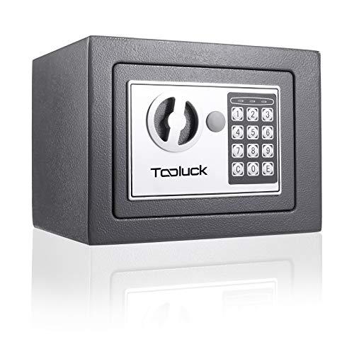 TOOLUCK- Caja Fuerte, con Cerradura Electrónica y 2 llaves de Emergencia, Montada en la Pared / Piso, con dos pernos de bloqueo, Caja Fuerte Pequeña para oficina o hogar por dinero, Joyas (gris)