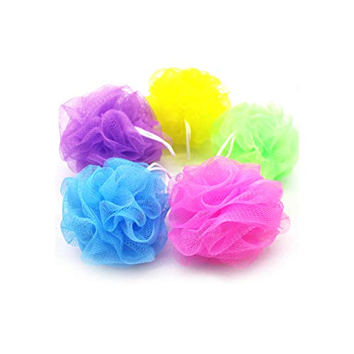 YUEMING 5 pièces Fleur de bain,Ballon de bain, bain douche corps, bain net boules exfolier Puff éponge maille (Couleur Aléatoire)