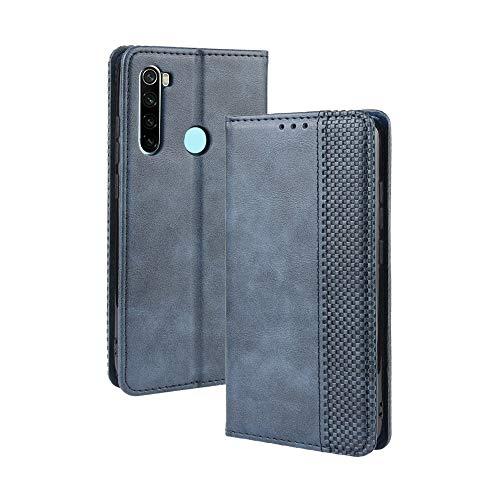 WEIOU Leather Folio Cover per Xiaomi Redmi Note 8 2021, Custodia in Pelle PU Magnetica Libro Flip Portafoglio con [Funzione Stand]. Blu