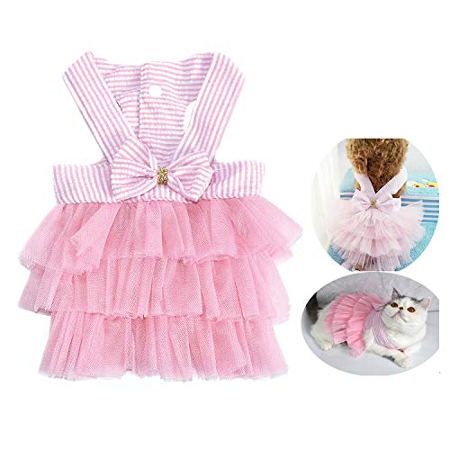 Pet Dog Dress for Girl and Boy Doggy Cats Rabbit Fancy Tutu Adorable Striped Mesh Dress Princess Petite Vest Doggie Bowknot Dresses for Small Dogs Pomeranian Chihuahua Skirt Pet Puppy Supplier(Pink M)