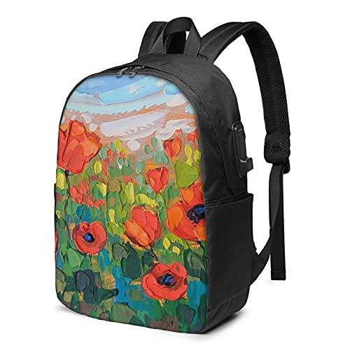 Mochila de pintura al óleo de flores, mochila de viaje con puerto de carga USB para hombres y mujeres de 17 pulgadas, ver imagen, Talla única,