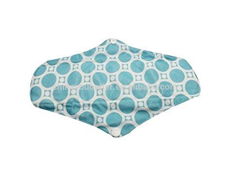 Set van 3 Comfylady Herbruikbare Bamboe Doek Sanitaire Handdoeken - Gratis Opbergtas - Blauwe Tegel - Licht/Medium Stroom
