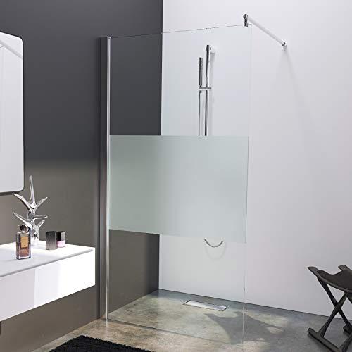 BIJON Duschwand Glas 100 x 200 cm Teilsatiniert Duschabtrennung Glas 8 mm ESG Duschtrennwand, Duschglaswand, Glaswand-Dusche Walk-in Dusche, Glastrennwand, Nano - Lotuseffekt, M2