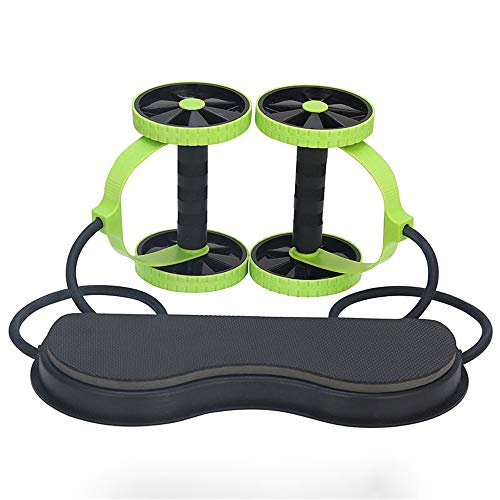Nvshiyk Ab Wheel Roller Roller Dual Two-Wheeled Abdominal Wheel Adjustable Drawstring Home Silent Abdominal Wheel Fitness for Fitness and Muscle Training (Color : Green, Size : One size)