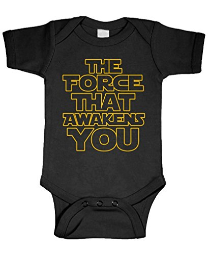 The Force That Awakens You - Movie Funny - Cotton Infant Bodysuit, 6m, Black