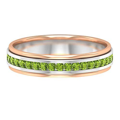 Anillo de eternidad con piedras preciosas, anillo de peridoto de 1/4 CT, anillo de piedra natal de agosto, anillo apilable de dama de honor, 14K Oro blanco, Size:EU 48