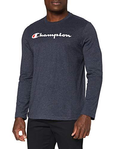 Champion Uomo - Maglietta Manica Lunga Classic Logo - Blu, M