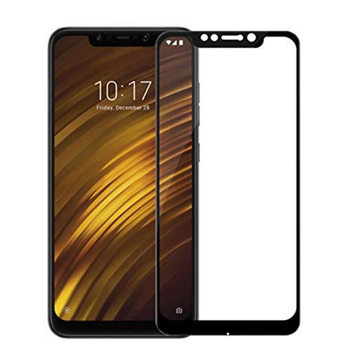 DELLA 2 Pieces Full Cover Glass for Xiaomi Pocophone F1 Tempered Glass Screen Protector for Xiaomi Pocophone F1 Pocofone F1 Glass Film-Black