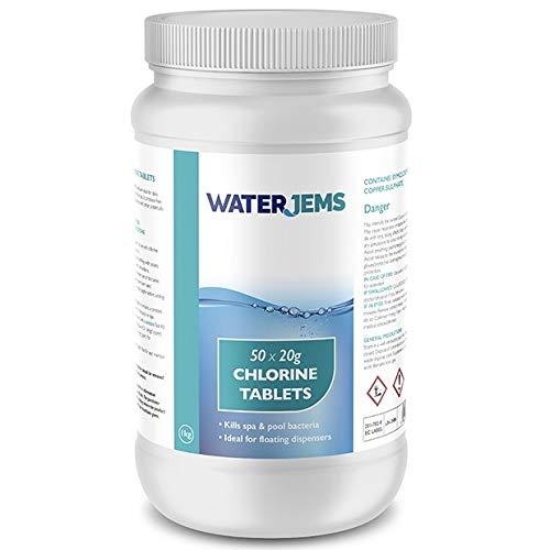 Party Jems 50 x 20g Hot Tub Chlorine Tablets Premium Quality Spa Floating Chemical Dispenser 1Kg