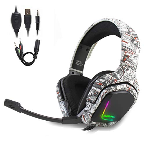 K20 Gaming Headset for PS4 Xbox One PC Mac Mobile Gaming Headphone, Camouflage Headset with 4D Surround Sound and Bass Stereo, LED Light & Noise-Isolation Microphone.