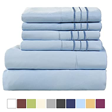 EASELAND 6-Pieces 1800 Thread Count Microfiber Bed Sheet Set-Wrinkle & Fade Resistant,Deep Pocket,Hypoallergenic Bedding set,Queen,Blue
