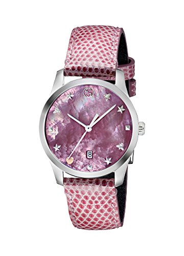 Gucci Damen Datum klassisch Quarz Uhr mit Leder Armband YA126586