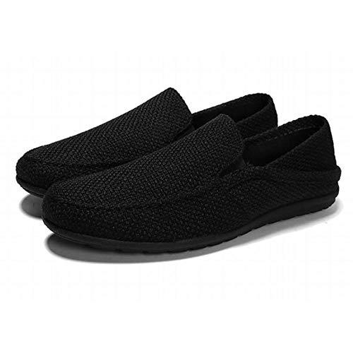 [toasoa] トーアソーア スリッポン メンズ かかとが踏める スニーカー サンダル 人気 軽量 デッキシューズ おしゃれ かっこいい 通気性 歩きやすい 幅広 厚底 キャンバス カジュアル かかとなし (40-25.0cm, 黒)