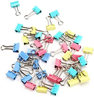 ペーパークリップ カラフル ダブルクリップ 25mm 金属製 48個入 フォールドバッククリップ 書類整理 事務用品 オフィス用品 文房具 収納ボックス付き
