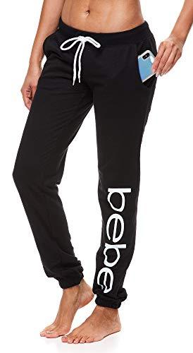 bebe Womens Elastic Waist Ankle Drawstring Lounge Pajama Sleep Pants with Pockets (Black, Medium)